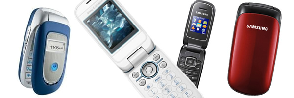Moviles antiguos de tipo concha o plegables