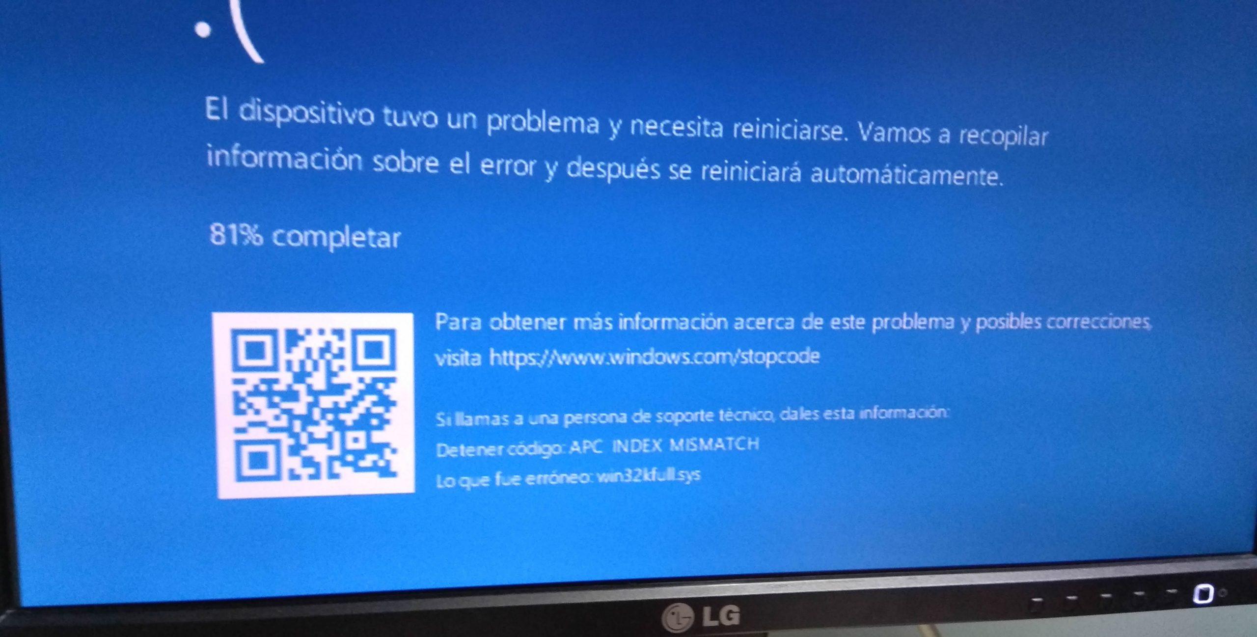 Pantallazo azul : error en win32kfull.sys