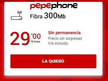 pepephone fibra de 300mb por 29€